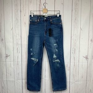 Umgee High Waist Straight Leg Distressed Jeans